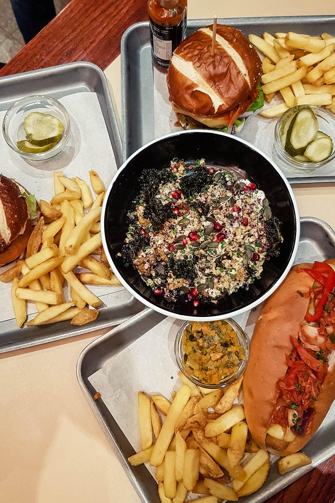 Vegan burgers, hotdogs and salad at Bath St Burger Glasgow