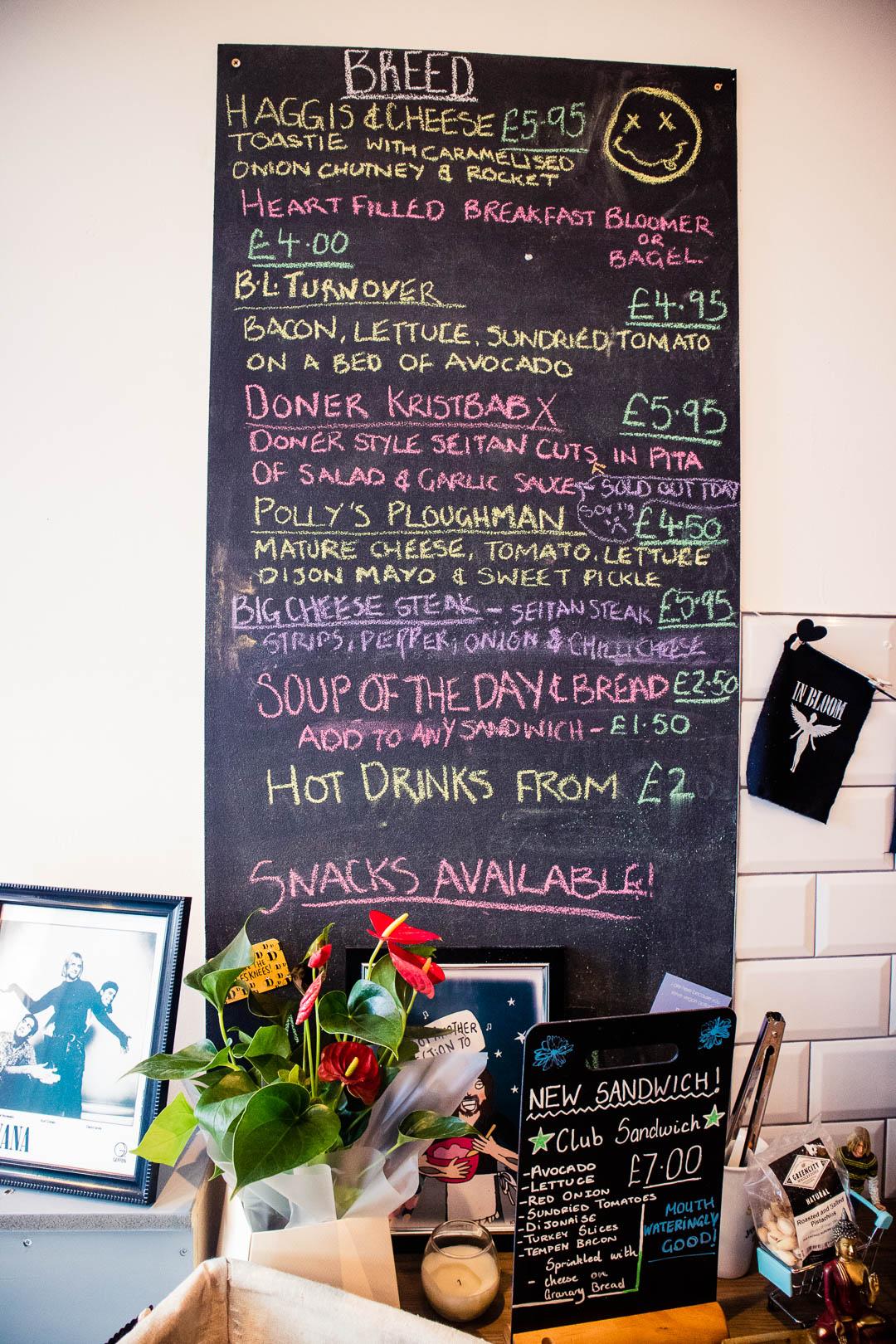 The menu at In Bloom Glasgow is written on a blackboard.