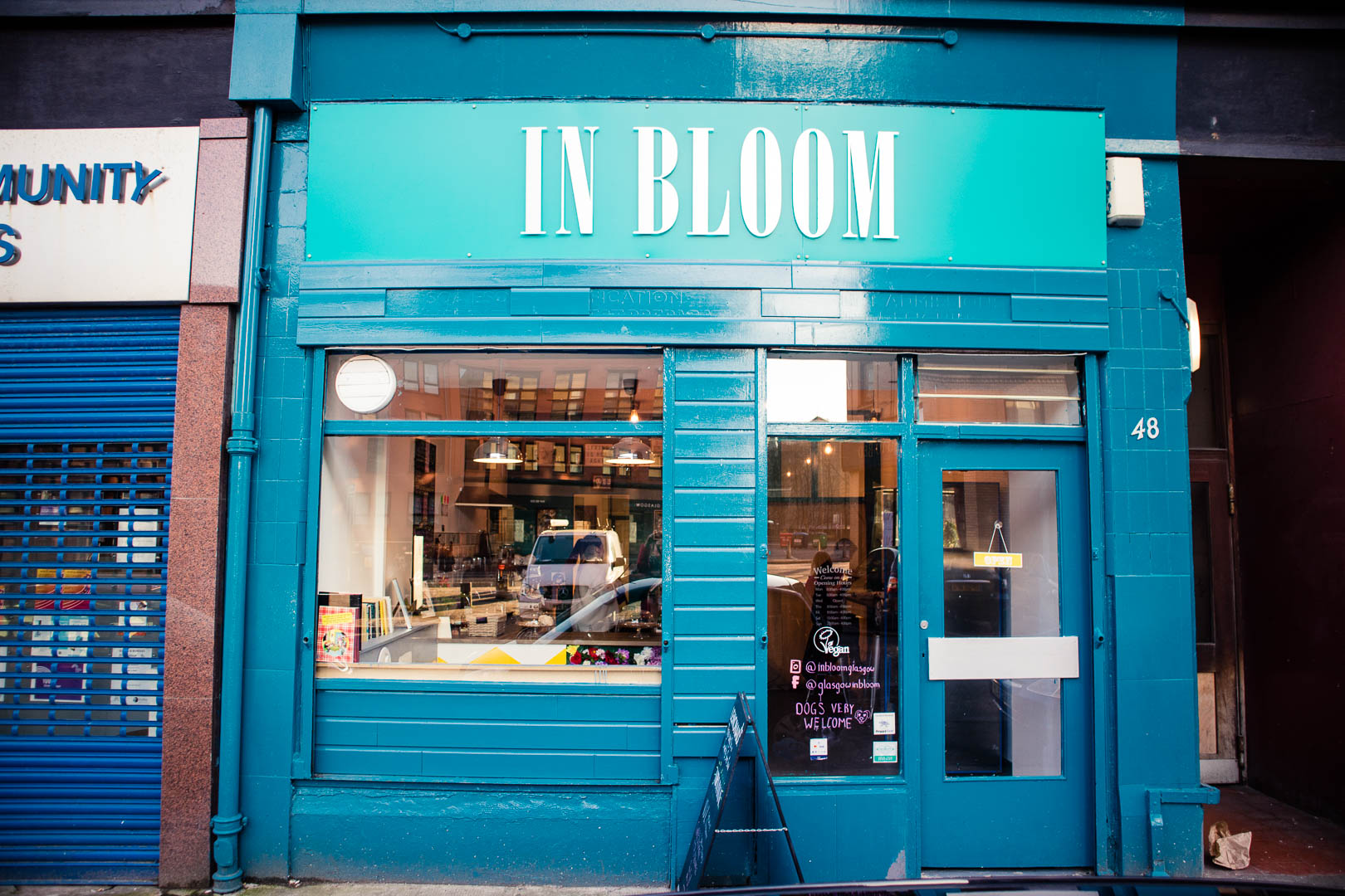 The bright exterior of In Bloom Glasgow.