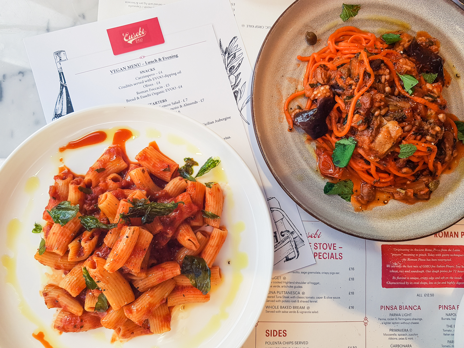 Vegan pasta dishes at Eusebi Deli in Glasgow.