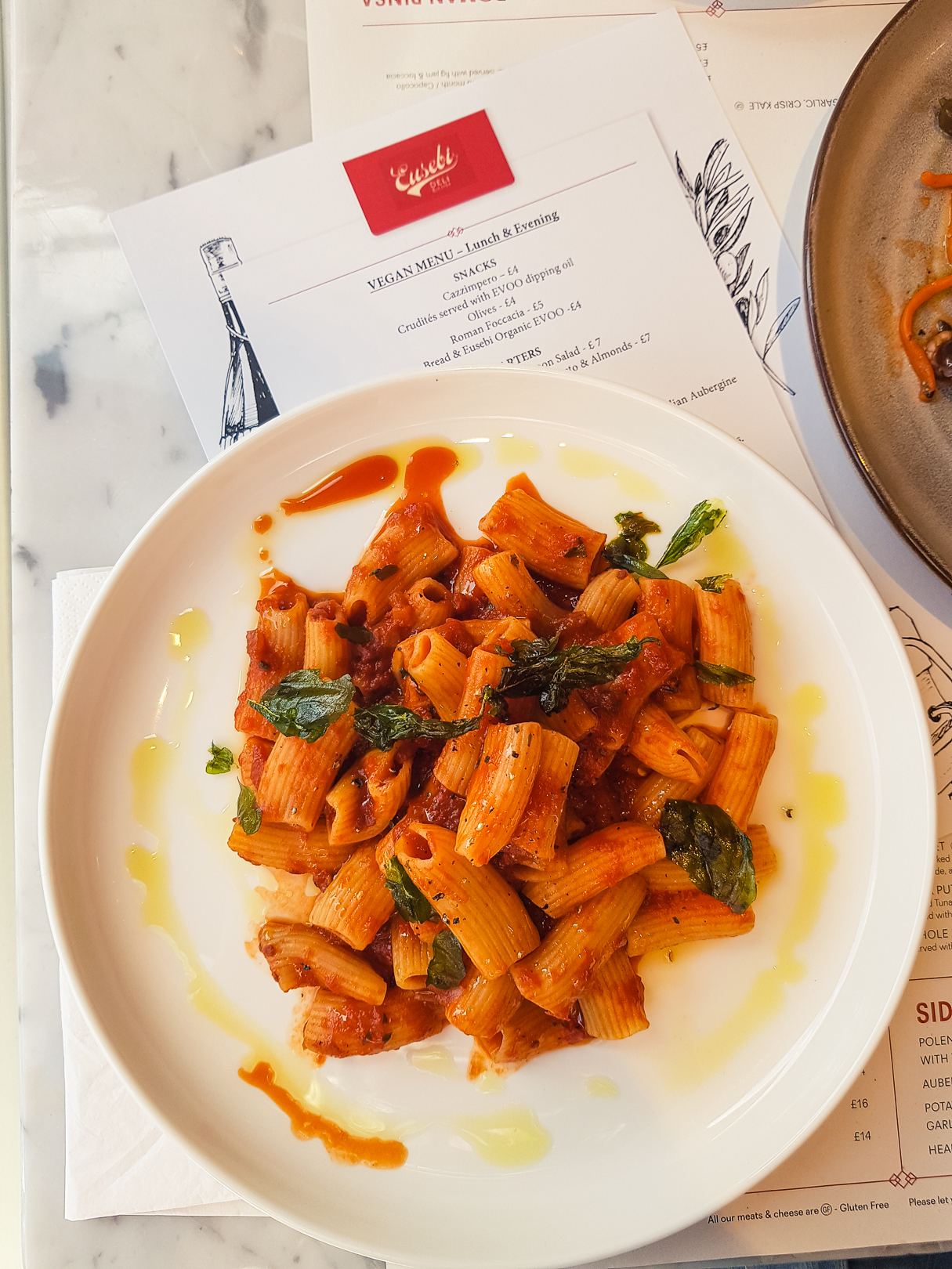 Rigatoni with tomato sauce at Eusebi Deli in Glasgow.