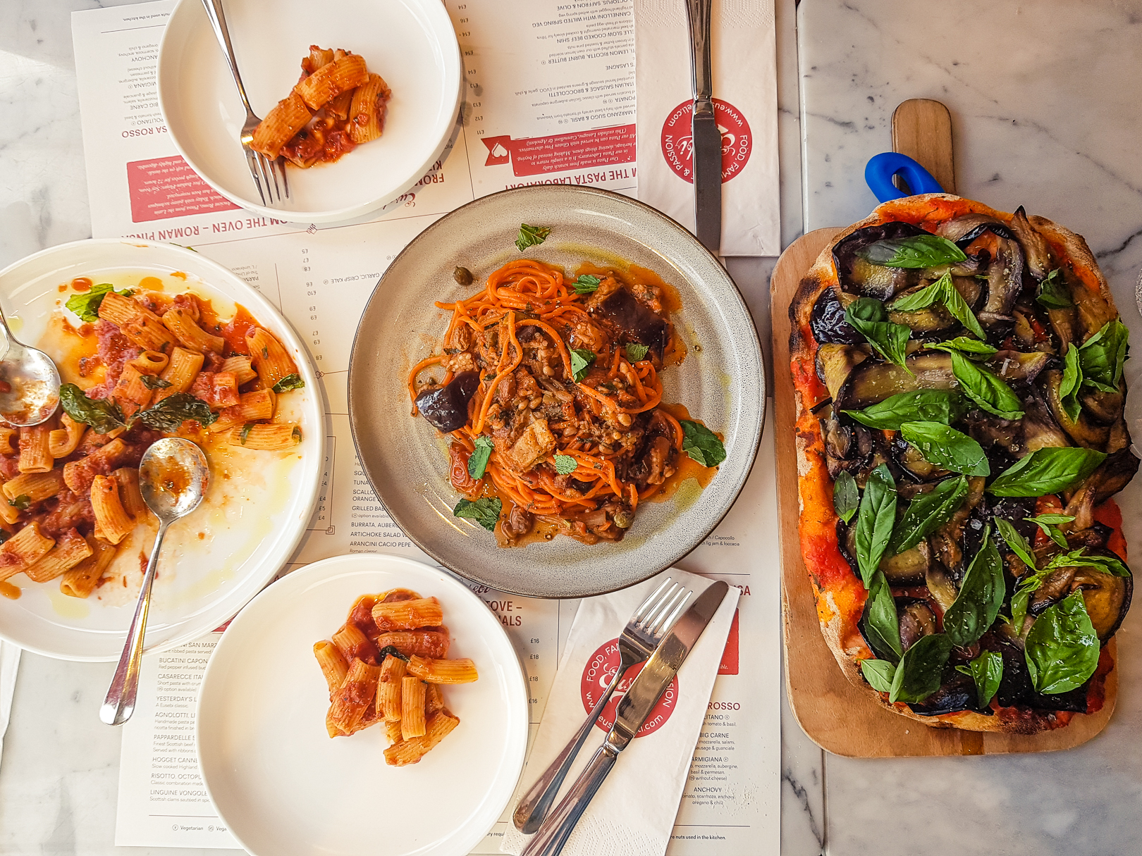 A spread of vegan Italian dishes at Eusebi Deli in Glasgow.