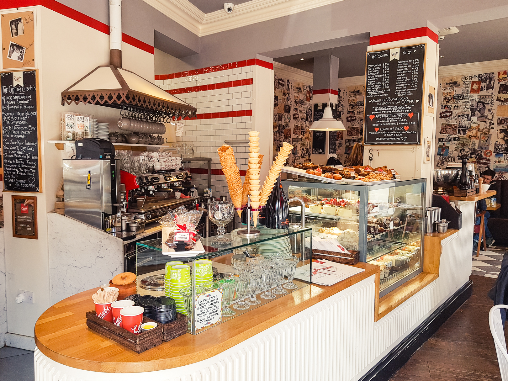 Interior of Eusebi Deli in Glasgow.