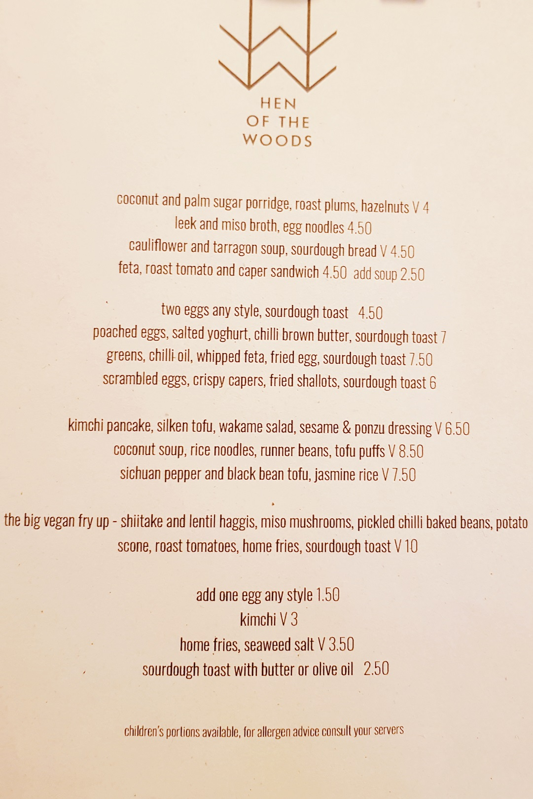 Menu at Hen of the Woods Glasgow at The Glad Cafe